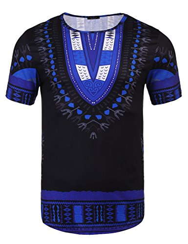 - Modfine Men's Short Sleeve Tee Hipster Hip Hop Tribal Style African Dashiki Graphic Longline T-Shirt(Royal Blue,XL)