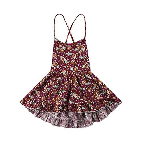 (Enhill Toddler Kids Infant Baby Girl Floral Halter Backless Sleeveless Ruffle Mini Dress (2-3 Years))