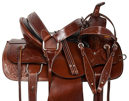 ALL NATURAL ANTIQUE OIL COWHIDE WESTERN LEATHER HORSE SADDLE COMFY SEAT PLEASURE TRAIL BARREL RACING HAND TOOLED PREMIUM SADDLE TACK SET BRIDLE BREAST COLLAR (Tooled Roper Breast Collar)