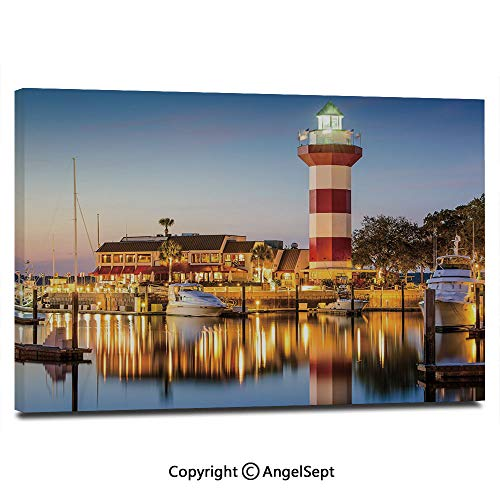 Modern Salon Theme Mural Hilton Head South Carolina Lighthouse Twilight Water Reflection Boats Idyllic Painting Canvas Wall Art for Home Decor 24x36inches, Multicolor