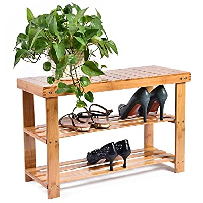 CharaVector VD-52611HW Entryway Bamboo Wood Bench 3-Tier Shoe Rack Organizer, Brown - BAMBOO MATERIAL: Brown finish entryway shoe bench, 3-tier shoe rack FUNCTIONAL: Bottom slatted shoe racks store up to 6 pairs of shoes, 4-way opening design; comfortable & convenient for you to take off your shoes and store them away STURDIER CONSTRUCTION: Top seat of this shoe bench is fixed by 4 sets of 2-screws on each corner, comes sturdier & more stable - entryway-furniture-decor, entryway-laundry-room, benches - 513JgAfprkL. SS400  -