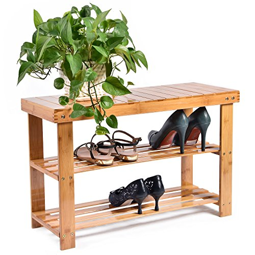 513JgAfprkL - CharaVector Entryway Bamboo Wood Shoe Bench 3-Tier Shoe Rack Organizer Brown Seat Storage Shelf Corridor Hallway Bathroom Living Room