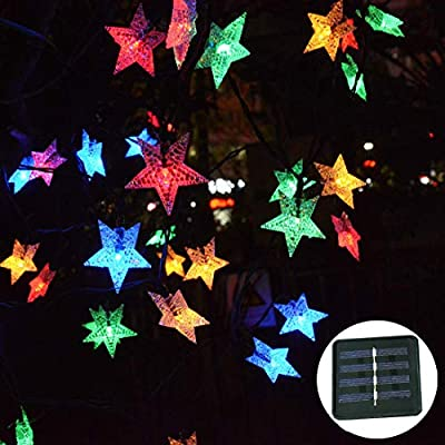 Huacenmy Outdoor Solar Garden Lights 30ft 50LED Solar Powered LED Star String Lights