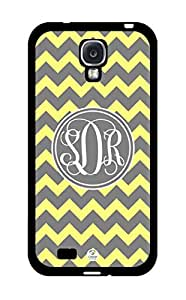 Monogram Personalized Yellow And Gray Chevron Pattern RUBBER Samsung Galaxy S4 Case - Fits Samsung Galaxy S4 T-Mobile, AT&T, Sprint, Verizon and International (Black)