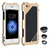 "AENMIL iPhone 6 Plus/6S Plus 5.5"" Case, 3-in-1 Water + Shock + Dust Proof with Wide Angle Macro Fisheye Lens and Tempered Glass Screen Protector, Silicone + Aluminum Bumper Cover - Gold"