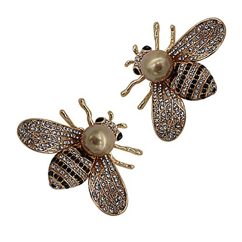 Large Pin Brooch - ZUOZUOYA Lovely Honey Bee Brooches - 2 Pcs Gold Tone Insect Themes - Fashion Mother of Pearl Brooch Pins - Great for Wife,Sisters and Friends