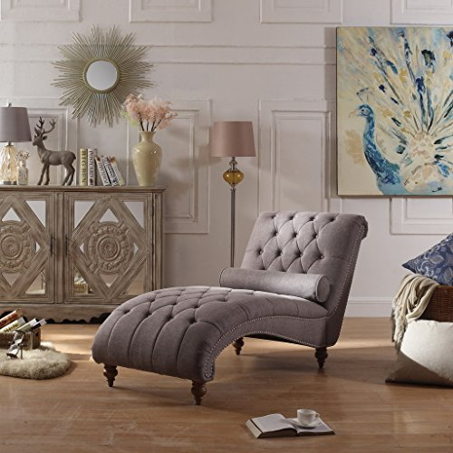 Rosevera Home Teofila Comfortable Tufted Chaise Lounge Chair, Grey