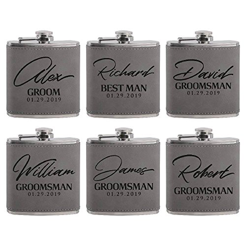 Set of 6  Personalized Groomsmen Flasks Groomsmen Gifts | 6oz Leatherette Personalized Flask for Liquor w Optional Gift Box  Personalized Groomsman Proposal Gifts | Wedding Favor #8 ASH