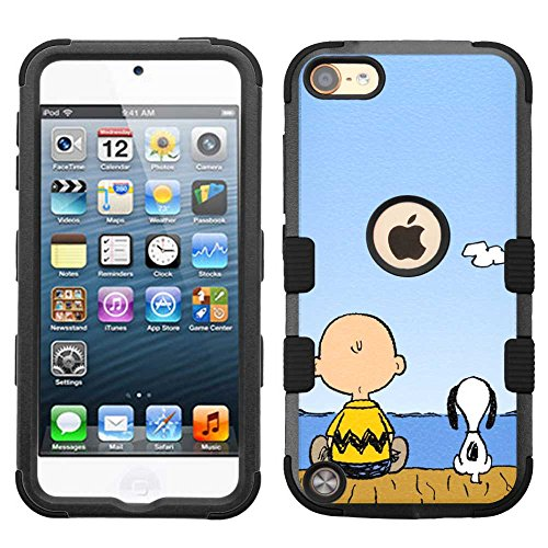(for iPod Touch 5/6, Hard+Rubber Dual Layer Hybrid Heavy-Duty Rugged Armor Cover Case - Snoopy Charlie Brown #F)