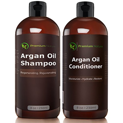Argan Oil Shampoo and Conditioner Set - ( 2x 8oz) Sulfate Free All Organic Hair Repair - Volumizing & Moisturizing Hair Regrowth - Treatment for Hair Loss Premium - Protectant Shampoo Nature