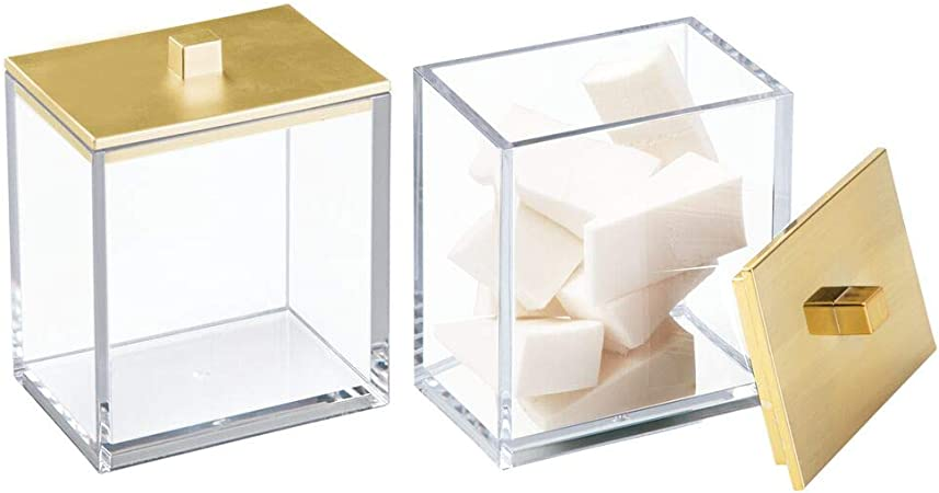 mDesign Juego de 2 envases para cosméticos – Dispensador de discos de algodón y caja para bastoncillos – Modernos botes con tapa para productos de aseo – Fabricados en plástico – transparente/dorado: Amazon.es: Hogar