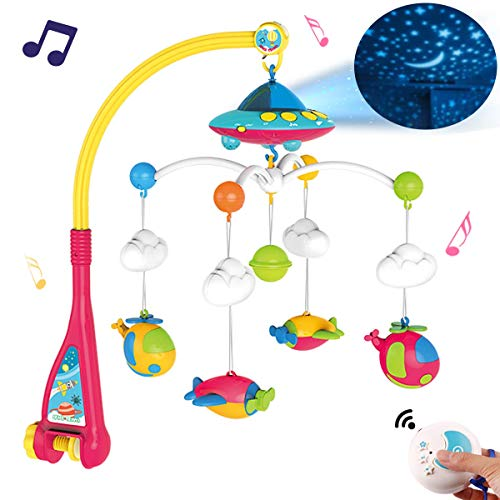 Baby Musical Crib Mobile with Light and 108 Melodies Music Box,Star Projector Function, Remote Control and Hanging Airplane Rattles Rotating,Gift Toy for Newborn (Mobiles Airplane Baby)