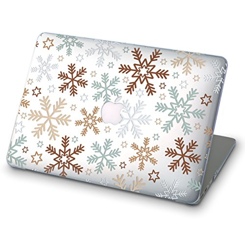 ZIZZDess Xmas Snow Case For Macbook Air 13 Case 2011 2012 White Brown Full Hard Lightweight Cover For Notebook Apple Mac Air 13.3 Inch Model A1369 A1466 Christmas Snowflake Art Design (Winter)
