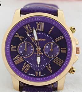 New Women's Fashion Geneva Roman Numerals Faux Leather Analog Quartz Wrist Watch,purple