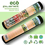 EcoPlanet Bio-degradable Agricultural Plasticulture Black Plastic Mulch Film Gardening Farming Film Weed Barrier (Type A) (1 Mil, 2.7 feet x 200 feet)
