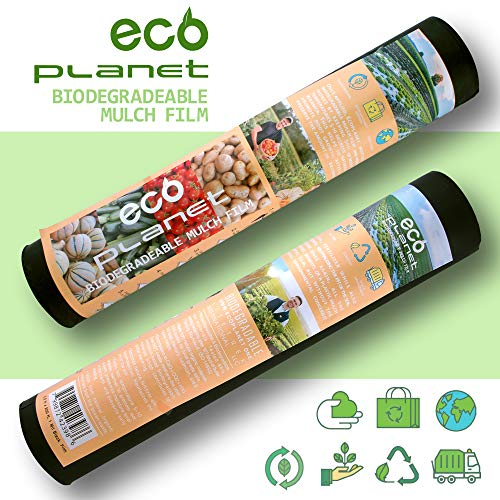 (EcoPlanet Bio-degradable Agricultural Plasticulture Black Plastic Mulch Film Gardening Farming Film Weed Barrier (Type A) (1 Mil, 2.7 feet x 200 feet) )