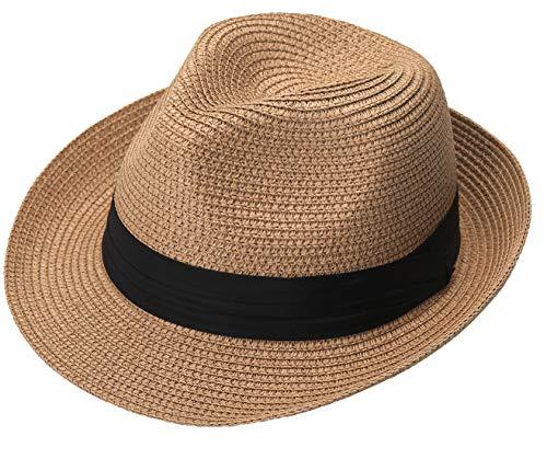 Mens Fedora Hat - Lanzom Men Summer Straw Foldable Roll up Hat Fedora Beach Sun Hat UPF50+ (A-Khaki)