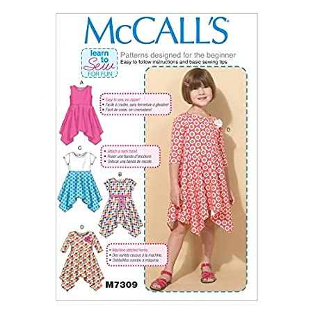 McCalls Girls Easy Learn to Sew Sewing Pattern 7309 Handkerchief Hem ...