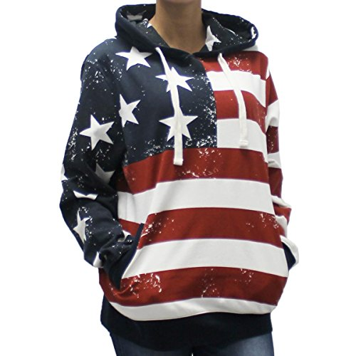 - Women's American Flag Fleece Hoodie (Medium, Multi)