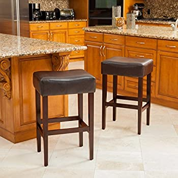 Duff Backless Brown Leather Counter Stools (Set of 2) & Amazon.com: Chantal Backless Brown Leather Counter Stools w/ Brass ... islam-shia.org