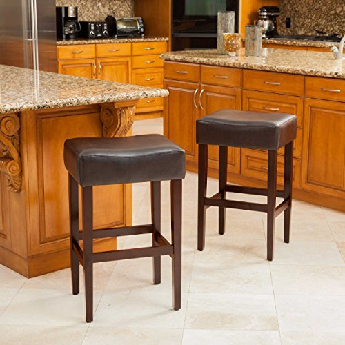 Duff Backless Brown Leather Counter Stools (Set of 2) by Great Deal Furniture