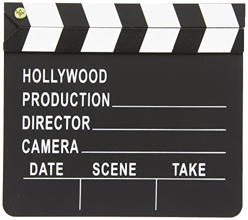 Amscan Night Hollywood Themed Party Movie Scene Marker Clapper Decoration (Pack Of 1), Black/White, 7