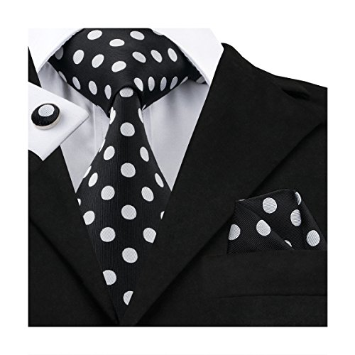 Necktie Black Dots Mens (Hi-Tie Men Black White Polka Dots Tie Necktie with Cufflinks and Pocket Square Tie Set)