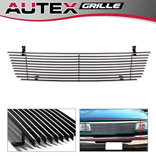 AUTEX Polished Aluminum Upper Billet Grille Grill Insert F85013A Compatible With Ford Ranger 1993-1997