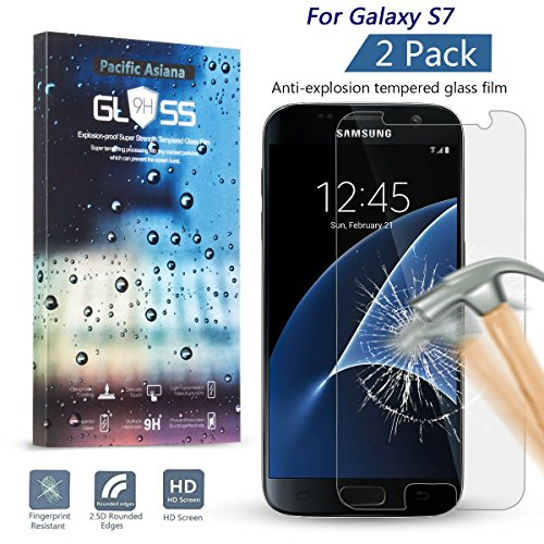 Pacific Asiana 0.3mm Slim HD Anti-scratches Clear Ballistic Tempered Glass Screen Protector for Samsung Galaxy S7, 2 Pack