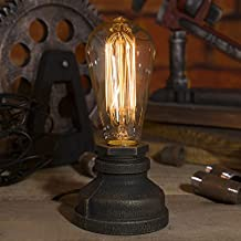 Kiven Steampunk Table Lamp UL Certification Button Switch Cord Vintage Style Desk Light E26 Iron Base Modern Antique Table Light Bulbs Not Included