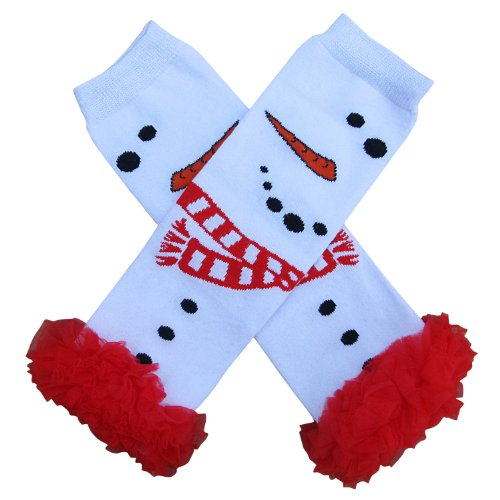 Warm Snowman - Chiffon Ruffle Tutu Christmas Holiday Winter Styles Leg Warmers - One Size - Baby, Toddler, Girl (Chiffon Winter Snowman)