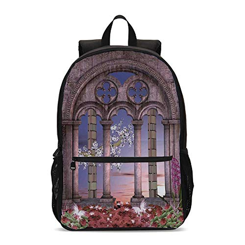 - Gothic Durable Backpack,Ancient Colonnade in Secret Garden with Flowers at Sunset Enchanted Forest for School Travel,12.2