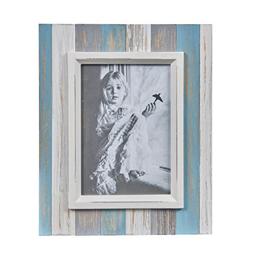 Danya B. Blue, Grey White Distressed Wood Plank 5 x 7 Picture Frame – Rustic Home Decor