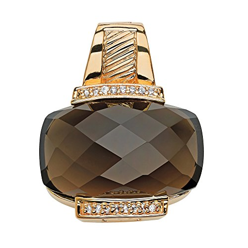 Palm Beach Jewelry Cushion-Cut Genuine Smoky Quartz 14k Yellow Gold-Plated Slide Pendant Necklace Enhancer 14k Yellow Slide