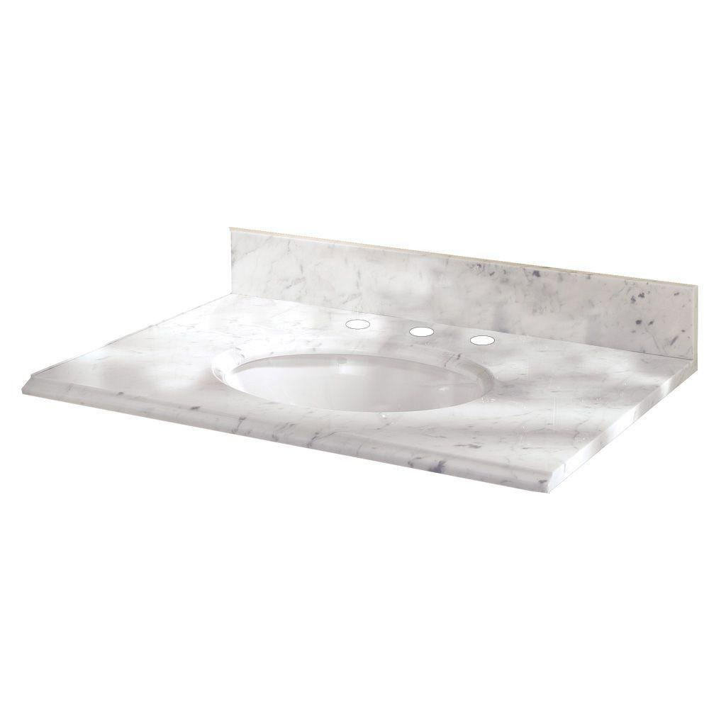 W Marble Vanity Top With White Bowl And 8 In. Faucet Spread In Carrara    Vanity Sinks   Amazon.com