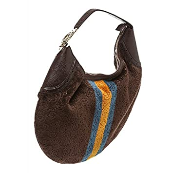 2dadb574d1b Gucci Pre-Owned Brown Velvet Yellow Blue Stripe Horesbit Leather Shoulder  Bag  Amazon.co.uk  Luggage