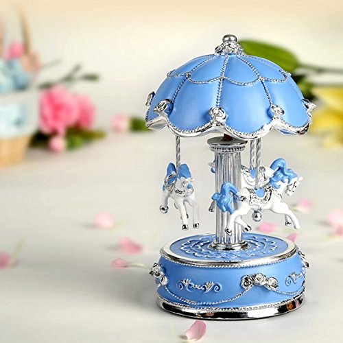 (Exquisite Blue and Silver World's Fair Style Animated Musical Carousel)