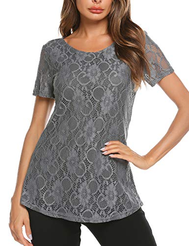 SoTeer Women's Short Sleeve Boho Elegant Loose Fit Sheer Lace Splice Peplum Tops Tunic Blouses(B_Grey M)