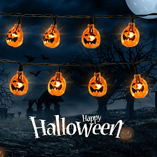 Halloween Pumpkin String Lights 9.8Ft 30 LED Halloween Lights Battery Operated 3D Jack-O-Lantern Pumpkin Lights with 2 Lightning Modes for Outdoor & Indoor Holiday Halloween Decoration