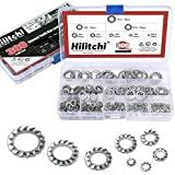 Hilitchi 300-Pcs 304 Stainless Steel External Tooth Star Lock Washers Assortment Kit - Included: M2.5 M3 M4 M5 M6 M8 M10 M12