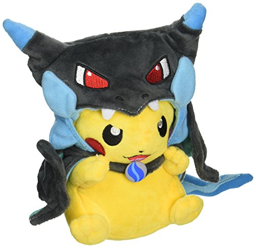Mega Charizard X Plush Toy Pokemon Pikazard Pikachu Open Mouth Cloak Blue Stuffed Animal Soft Figure Doll 8