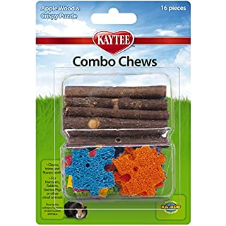 Kaytee Combo Chews, Apple Wood and Crispy Puzzle, 16 Pieces,Brown,4.5 Inches x 6.5 Inches x 1.25 Inches