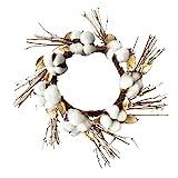 Natural Cotton Boll Wreath Front Door Autumn Harvest Thanksgiving Decorative Garland Wreath Decoration