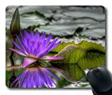 Gaming Mouse Pad Personalized Unique Oblong Shaped Mouse Pad Purple Water Lily Design Natural Eco Rubber Durable Computer Desk Stationery Accessories Gifts For Mouse Pads - Support Wired Wireless or Bluetooth Mouse
