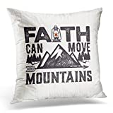 NOWCustom Throw Pillow Covers Jesus Biblical Christian Lettering Faith Can Move Mountains Matthew Quote Home Pillowcase Square Size 20 x 20 Inches Decor Sofa Couch Roomy Cushion Case