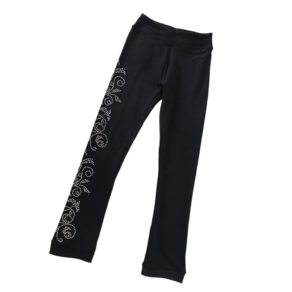 Adultes Enfants Legging de Sport Pantalons Yoga en Coton et Polaire perfeclan Collant avec Pied pour Patinage