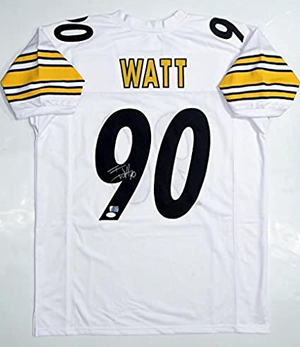 lowest price 6d6df 578ec Signed T.J. Watt Jersey - TJ White Pro Style W Auth & Holo ...