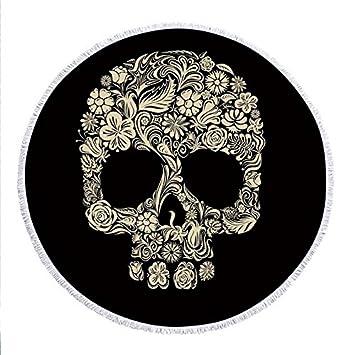 GSYAZTT Flores Cráneo Borlas Grandes Redondas Toallas de Playa Impreso Círculo Toalla Grande Playa 150 Cm