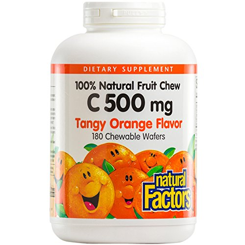 Natural Factors - Vitamin C 500mg, 100% Natural Fruit Chew, Tangy Orange, 180 Chewable Wafers by Natural Factors