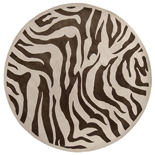 7.75' Zebra Animal Print Ivory and Coffee Bean Brown Round Wool Area Throw Rug - Round Zebra Print Rug
